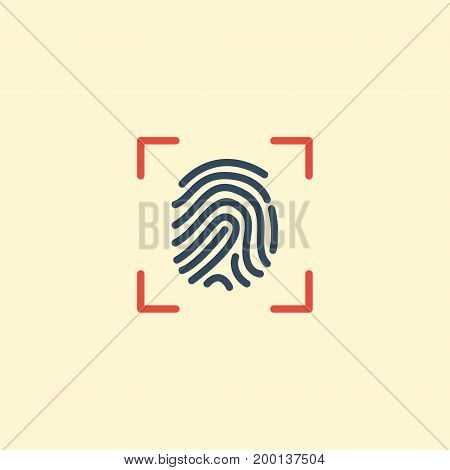Flat Icon Fingerprint Element. Vector Illustration Of Flat Icon Thumbprint Isolated On Clean Background