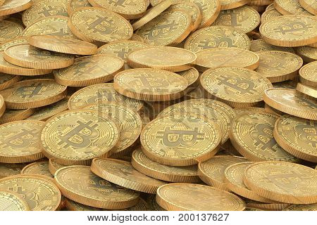 3D illustration: pile of golden bitcoins coins. A lot of virtual money tokens. Can be use as background. macro