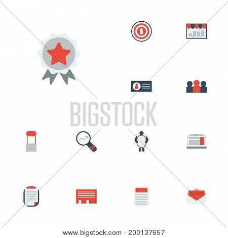 Flat Icons Journal, Market, Message And Other Vector Elements