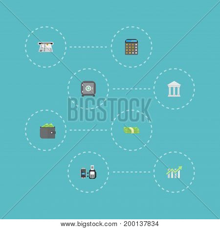 Flat Icons Accounting, Teller Machine, Billfold And Other Vector Elements
