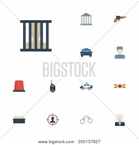 Flat Icons Warning Strip, Building, Lawyer And Other Vector Elements