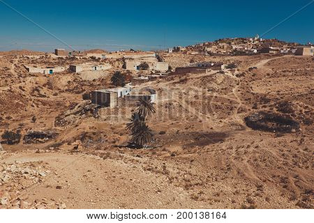 A view of the small berber village Tamezret in Tunisia. Sky view