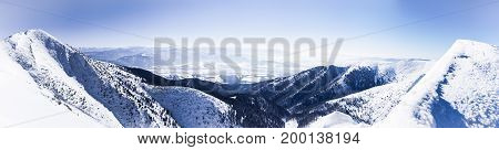 Winter Panorama Alps, Panorama of high mountain peaks, Alpine mountains in winter, Panoramic view of snowy mountains, Alpine mountain peaks, Beautiful winter landscape, European mountain panorama