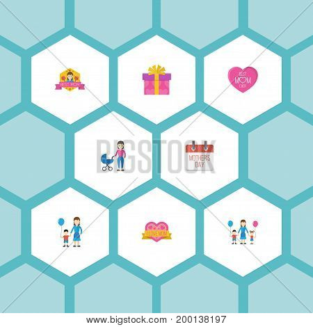 Happy Mother's Day Flat Icon Layout Design With Children, Special Day And Emotion Symbols