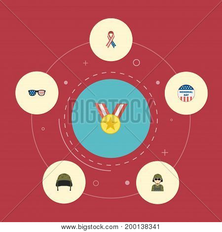 Flat Icons Soldier Helmet, Awareness, Military Man And Other Vector Elements