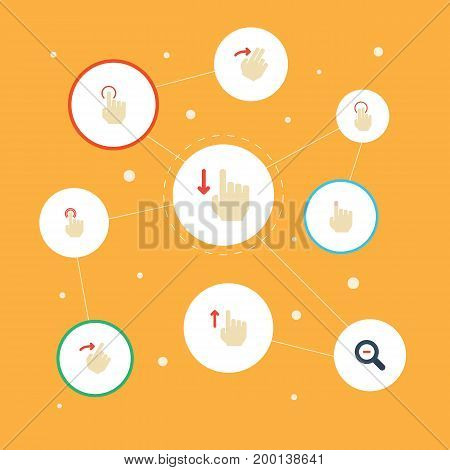 Flat Icons Slide, Zoom Out, Down And Other Vector Elements