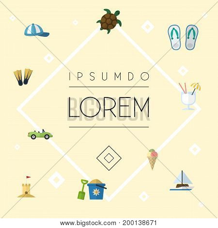 Flat Icons Castle, Hat, Swimming And Other Vector Elements