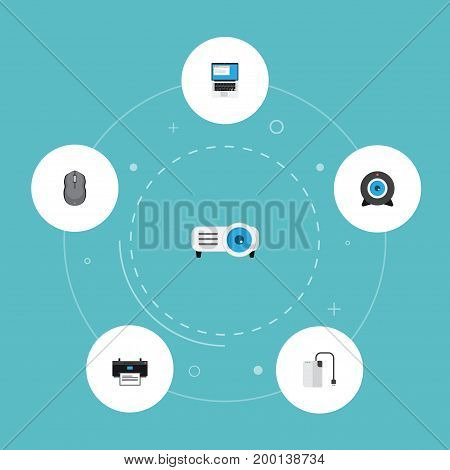 Flat Icons Storage Device, Laptop, Web Cam And Other Vector Elements