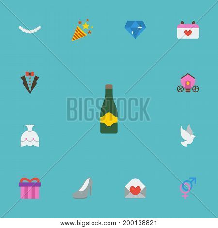Flat Icons Bridegroom Dress, Card, Jewelry And Other Vector Elements