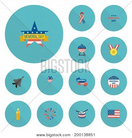 Flat Icons Barbecue, Firecracker, American Banner And Other Vector Elements