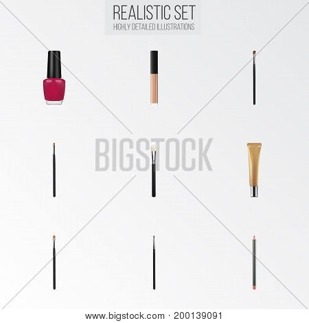 Realistic Varnish, Eye Paintbrush, Brow Makeup Tool And Other Vector Elements