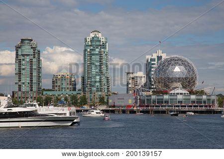 Vancouver False Creek Science world landmark water view boats