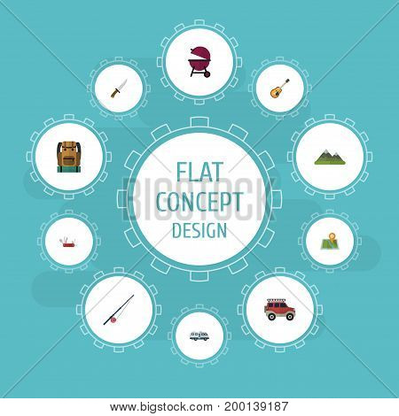 Flat Icons Fishing, Penknife, Location And Other Vector Elements
