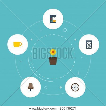 Flat Icons Watch, Plant Pot, Armchair And Other Vector Elements
