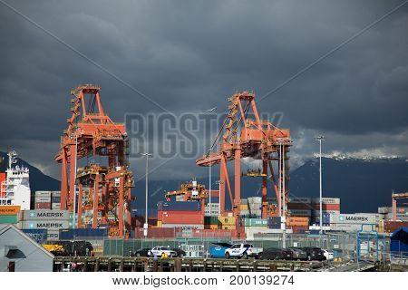 Shipping sea terminal harbor Vancouver Canada July 2017