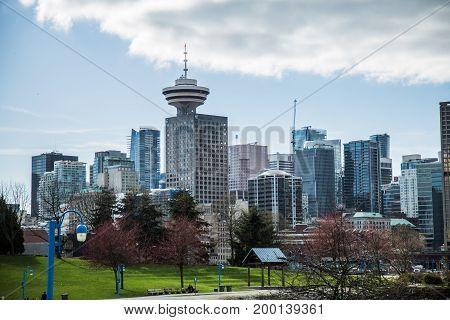 Paniramic shot skyline Vancouver downtown May 2017