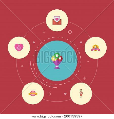 Happy Mother's Day Flat Icon Layout Design With Best Mother Ever, Design And Flower Symbols
