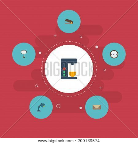 Flat Icons Board Stand, Puncher, Watch Vector Elements