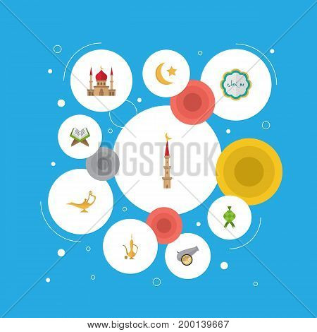 Flat Icons Decorative, Minaret, Holy Book And Other Vector Elements