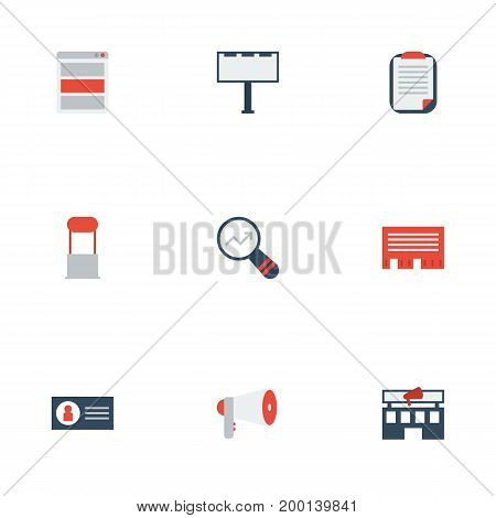 Flat Icons Advertising, Letter, Building And Other Vector Elements