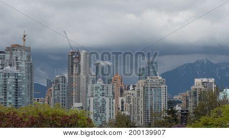 Modern architecture city design cranes city development Vancouver Canada May 2107