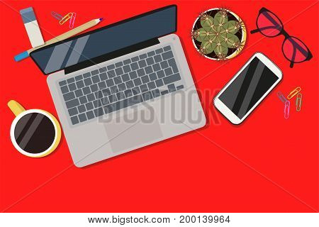 Office desktop with isolated notebook, phone, coffee, glasses and cactus, top view. Vector flat illustration.