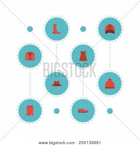 Flat Icons Evening Dress, Fedora, Gumshoes And Other Vector Elements