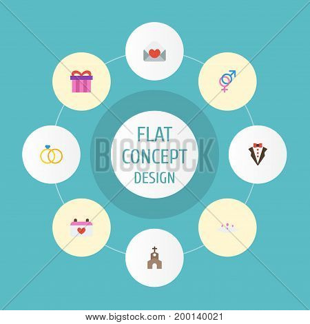 Flat Icons Calendar, Sexuality Symbol, Present And Other Vector Elements