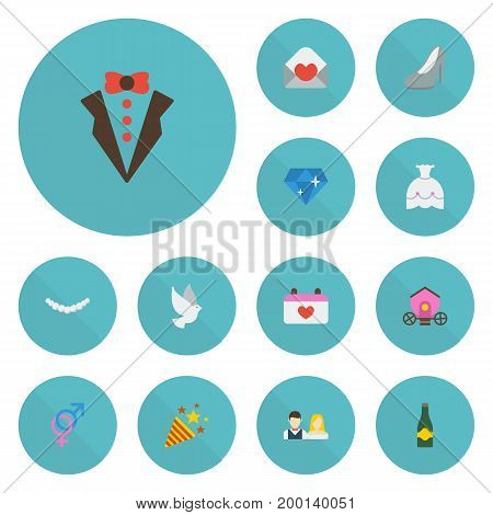 Flat Icons Wedding Gown, Calendar, Sexuality Symbol And Other Vector Elements