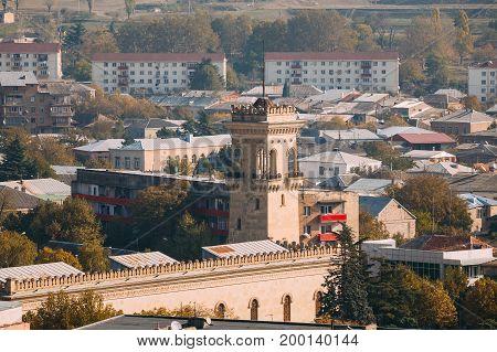 Gori, Shida Kartli Region, Georgia, Eurasia. Top View Of Tower Tower Of The Stalin Museum In Sunny Summer Day.