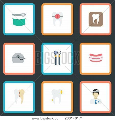 Flat Icons Brace, Halitosis, Artificial Teeth And Other Vector Elements