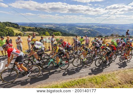 Col de Peyra Taillade France - July 162017: The peloton climbing the last kilometer to Col de Peyra Taillade in the Central Massif during the stage 15 of Le Tour de France 2017.