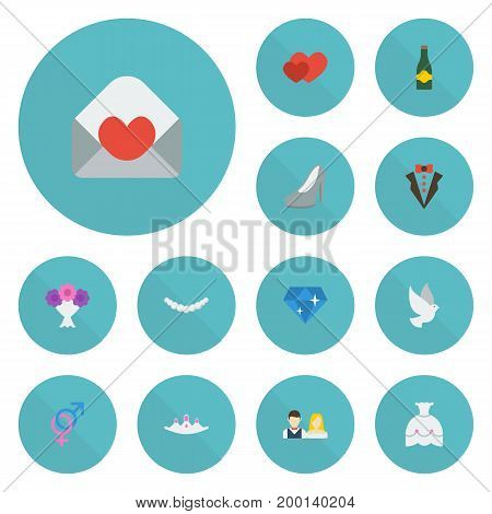 Flat Icons Fizz, Couple, Jewelry And Other Vector Elements