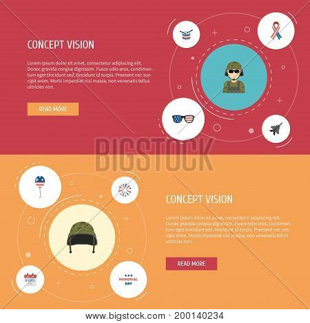 Flat Icons Military Man, Spectacles, Soldier Helmet And Other Vector Elements