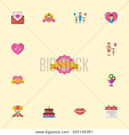 Happy Mother's Day Flat Icon Layout Design With Woman, Sticker And Design Symbols