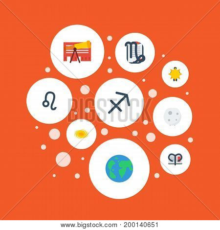 Flat Icons Lunar, Solar, Ram And Other Vector Elements