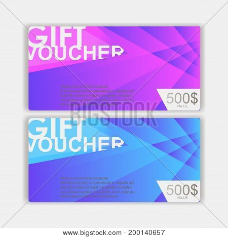 Vector illustration, Gift voucher template. cute gift voucher certificate coupon design template. Discount and gift voucher template