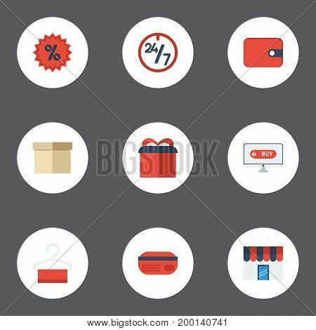 Flat Icons Percentage, Present, Shopping And Other Vector Elements