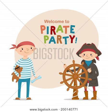 Two little boys dressed as sailors, pirates with steering wheel, teddy bear and space for text, cartoon vector illustration isolated on white background. Kids, boys dressed as pirates, sailors