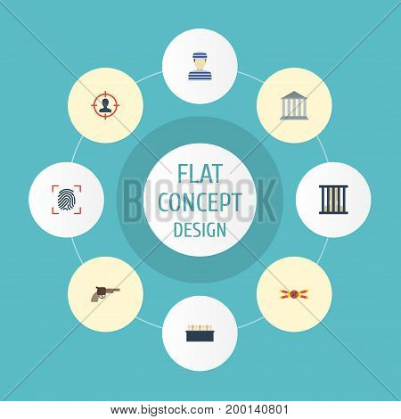 Flat Icons Jury, Suspicious, Warning Strip And Other Vector Elements