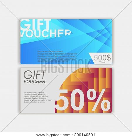 Gift voucher template. cute gift voucher certificate coupon design. Design usable for gift coupon, voucher, invitation, certific