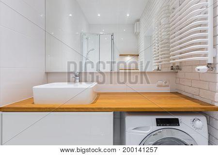 Bathroom With Wooden Countertop