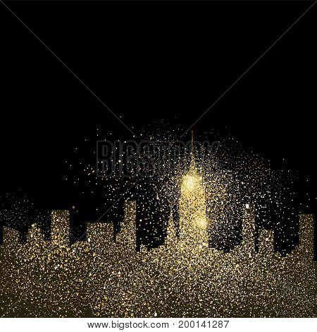 City Skyline Gold Glitter Art Concept Illustration
