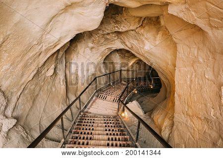 Uplistsikhe, Shida Kartli Region, Georgia. Secret Tunnel Pierced to the Kura River In Famous Landmark. Ancient Rock-hewn Town In Eastern Georgia. UNESCO World Heritage Site