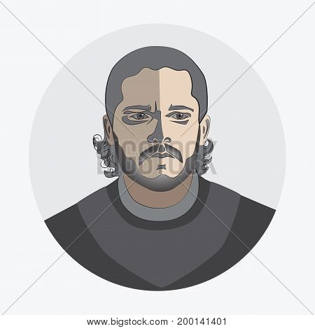 Man's face. Avatar. logo, template, icon, sticker. Fashion round flat icon for business, Internet, design.