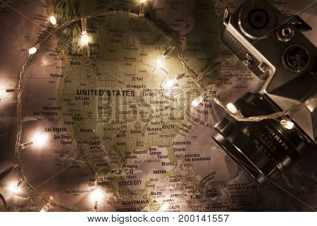 Map Of United States Of America, Travel Concept