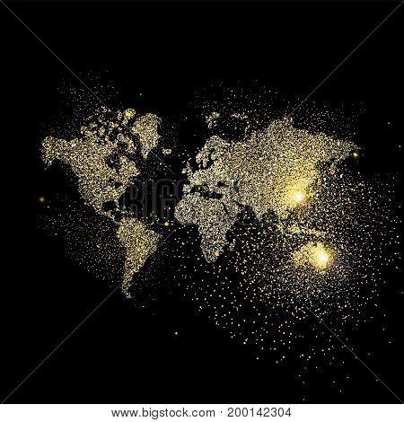 World Map Gold Glitter Art Concept Illustration