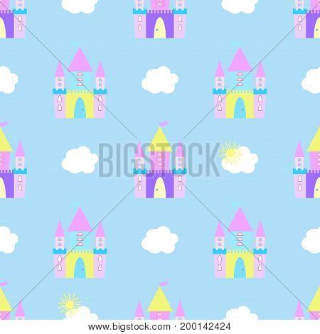 Fairytale castle seamless pattern vector decor, kingdom, disney, fort