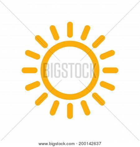 Yellow sun icon in flat design. Vector illustration. Symbol of the sun isolated on white background