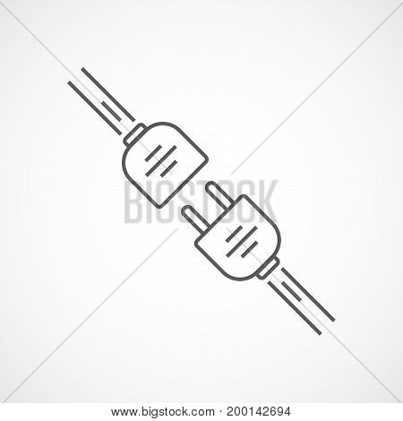 Wire plug and socket icon. Vector illustration. Plug and socket in flat design. Concept of connection and disconnection of the electricity.